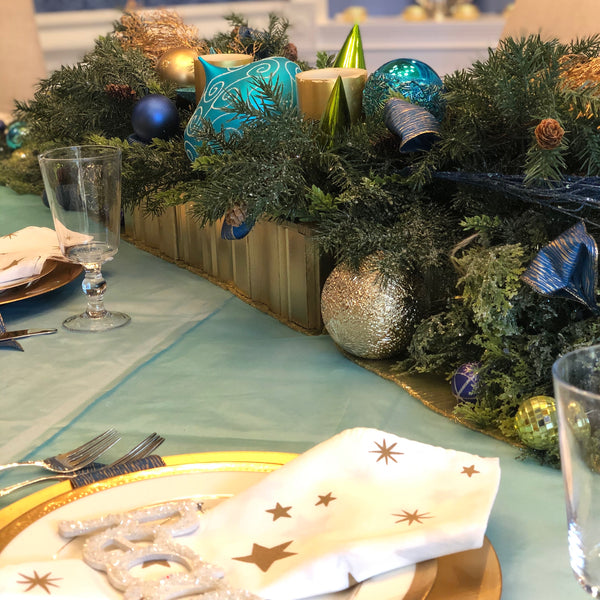 Blue, tree, and gold centerpiece