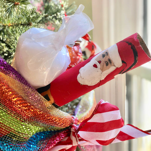 Santa made from a paper towel roll