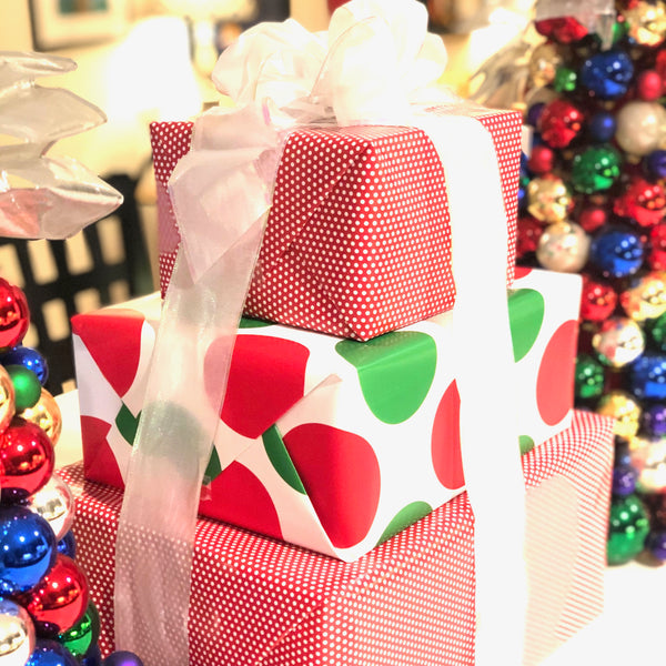wrapped boxes as decorations