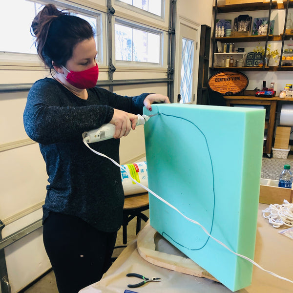 Cutting upholstery foam with electric knife