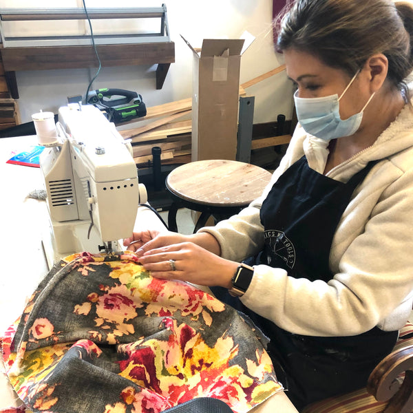 Sewing boxing band, welting, and face of box cushion together