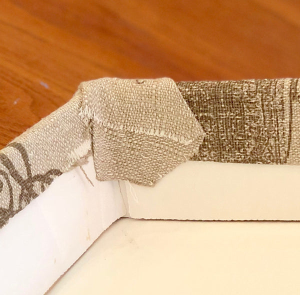 Wrapping a wedding dress box in fabric