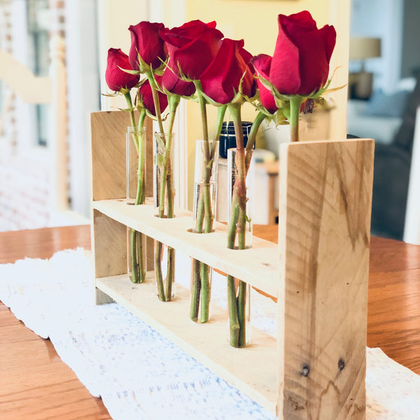 Roses in reclaimed pallet wood centerpiece