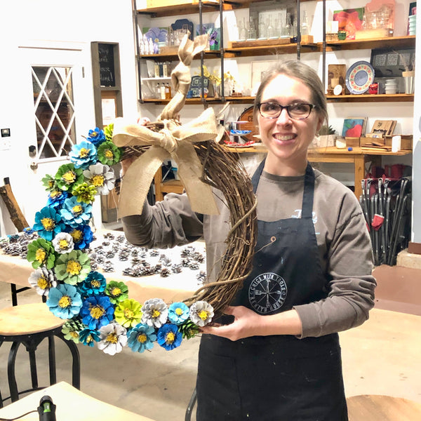 Finished pinecone flower spring wreath Chics With Tools