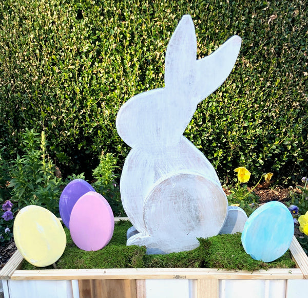 Wooden Easter Bunny with Eggs