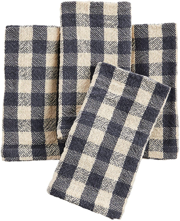 Gray-Blue/Ecru Check Napkins (Set of 4)