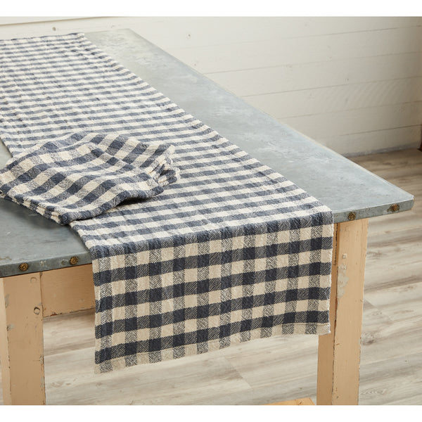 Mud Pie Blue and White Table woven runner