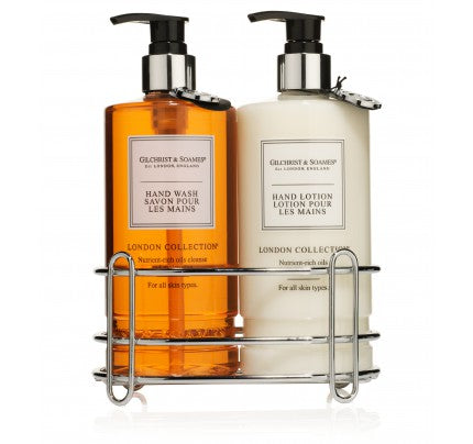 London Collection Hand Wash, Hand Lotion and Chrome Caddy