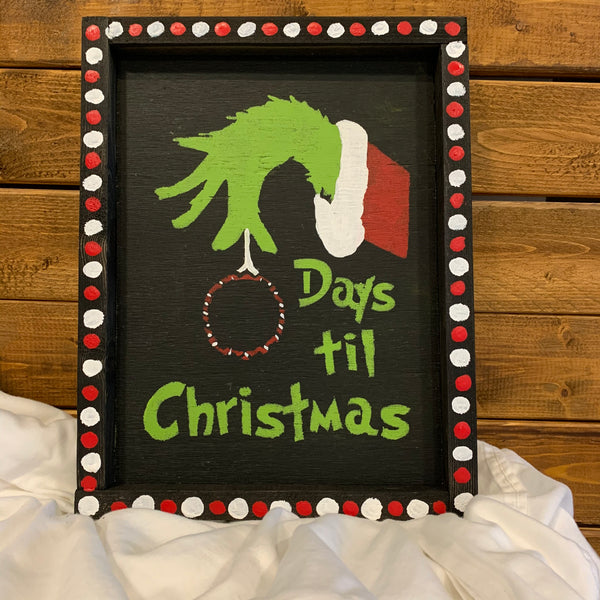 Countdown to Christmas with the Grinch Wooden Chalkboard wall hanging