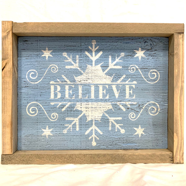 Believe with snowflake, white and light blue, distressed -Wooden sign