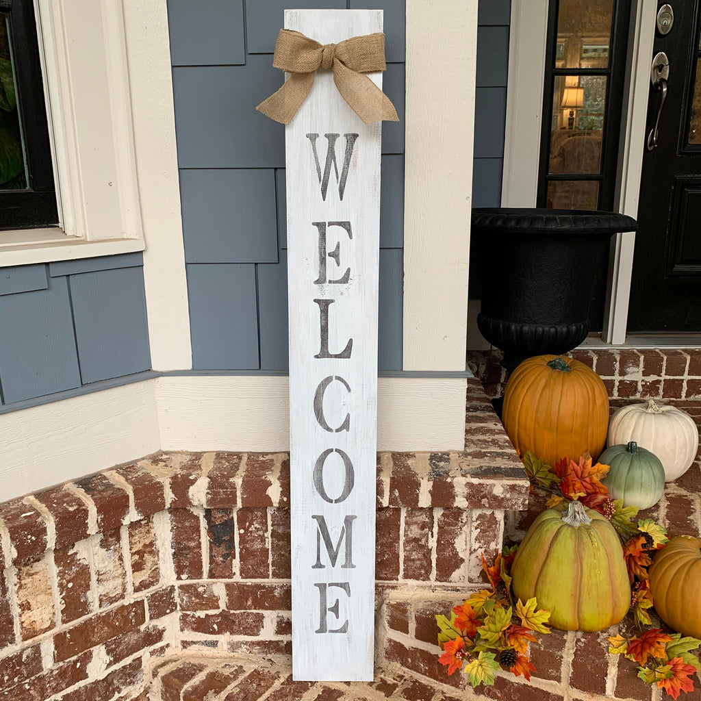 Rustic White Welcome Sign