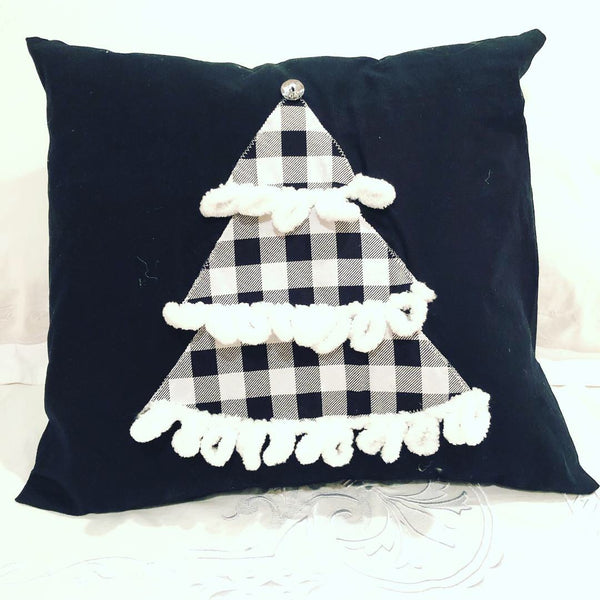 Black  and Buffalo Check Christmas Throw Pillow