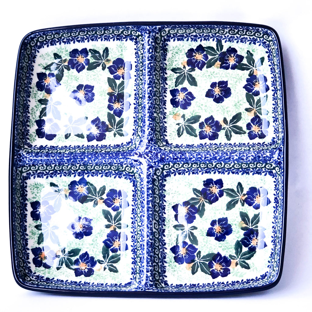 Handmade Polish Pottery- blue, green, and white, divided serving platter