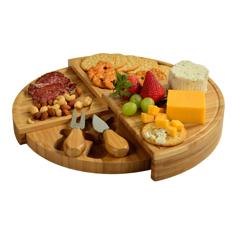 Collapsible, portable, bamboo, charcuterie and serving board with cheese knife and fork in hidden storage by Picnic At Ascot
