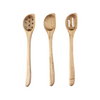 Set of three angled wooden spoons