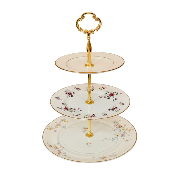 Three-tiered server with mismatched china, shabby chic, English cottage