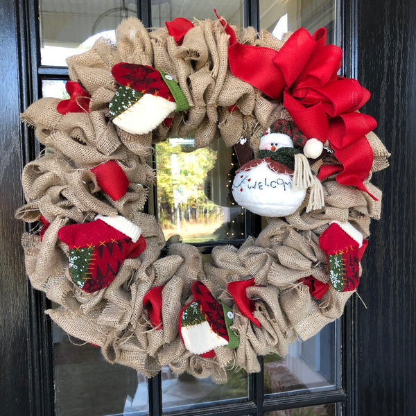 Wreath-Rustic, Burlap, Christmas