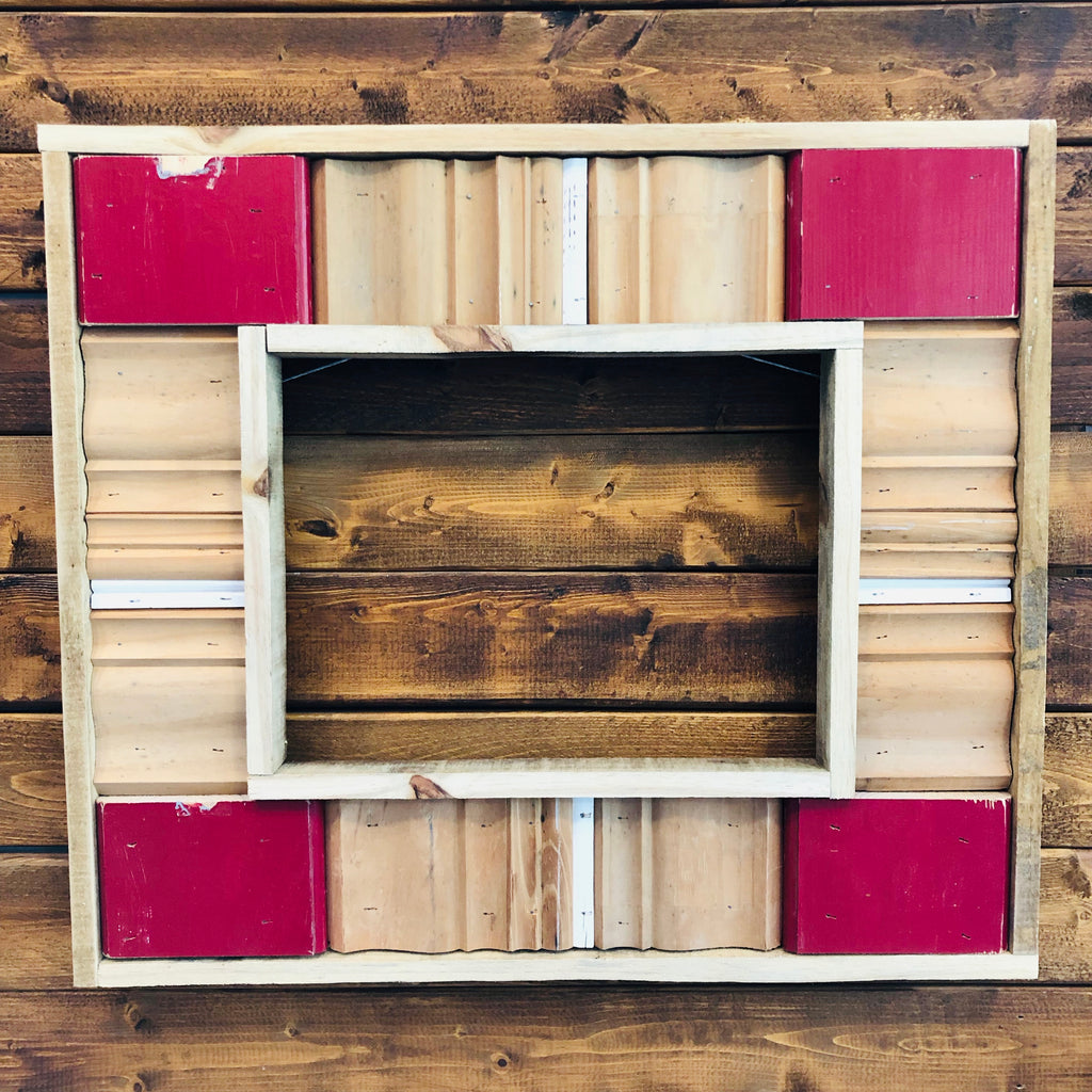 Red, White, and Natural Repurposed Trim Frame