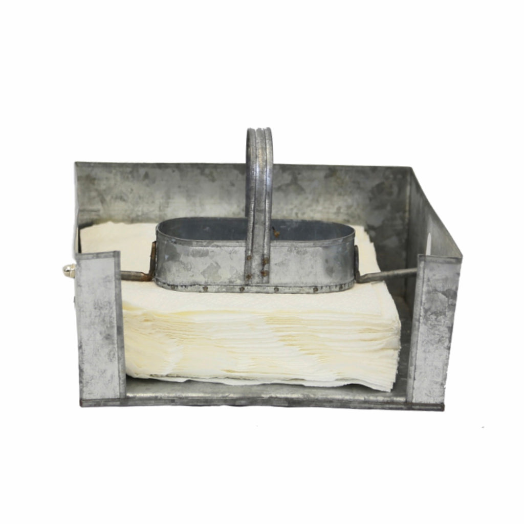Galvanized metal, farmhouse style napkin caddy with salt and pepper holder