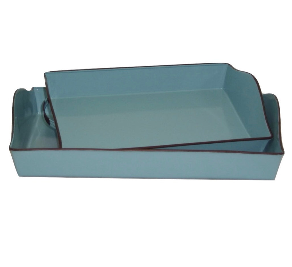 French Country Aqua Metal Enamel Trays