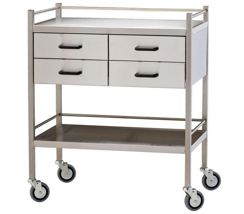 Stainless Steel Treatment Trolley - Four Draws