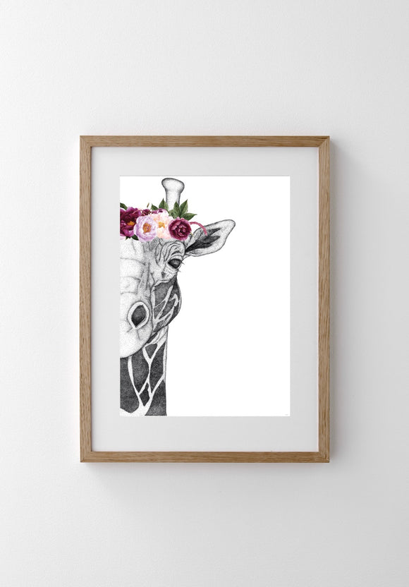 DOTS BY DONNA Georgi the Giraffe with Pink Flower Crown