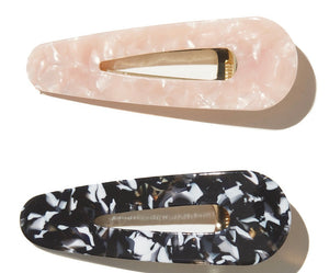 EMELDO // Farrah clip 2pk Baby Pink and  Black +white