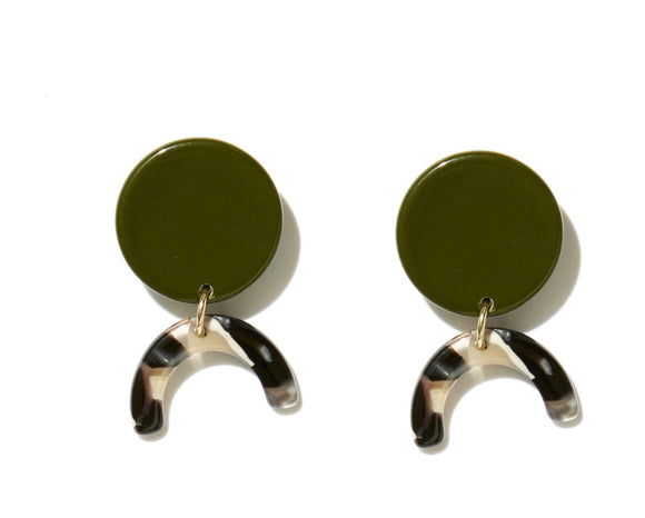 EMELDO Willow Earring // Olive Stud with mixed neutral