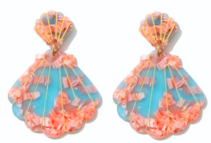 EMELDO // Shell Drop Earrings Blue + Pink