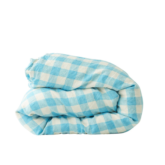 SOCIETY OF WANDERERS king duvet ocean blue gingham