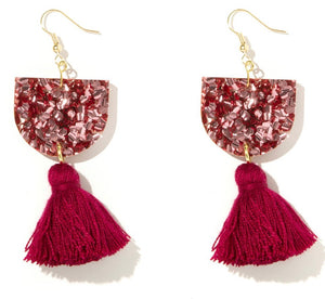 EMELDO // Annie Earrings Rose Pink Chunky Glitter + Maroon