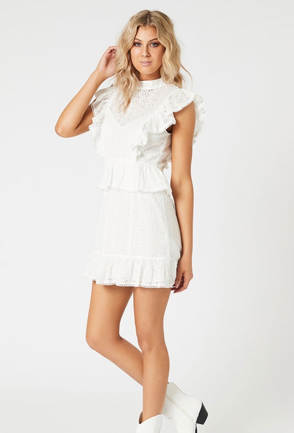 MINKPINK // Angelic Anglaise Dress white