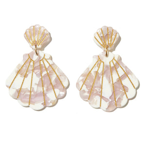 EMELDO Shell Drop Earrings // white, pearl, pink, gold
