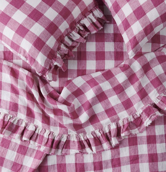 SOCIETY OF WANDERERS // Fuchsia Gingham Ruffle Flat sheet king
