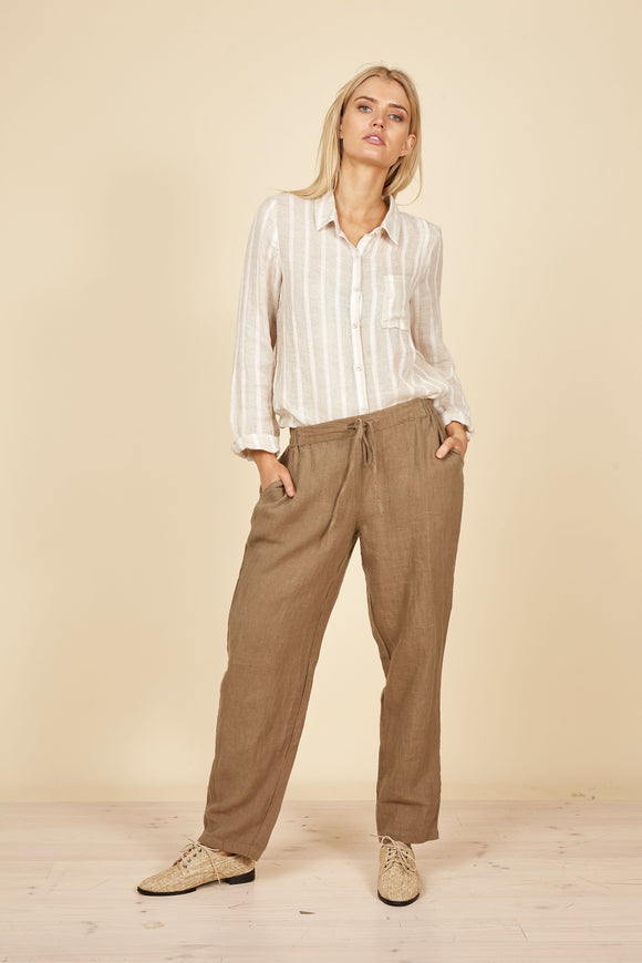 THE SHANTY CORP Nautical Linen Pants - Moss