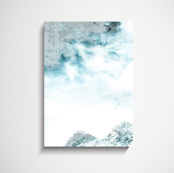 YORKELEE Blue Storm Abstract Mountain - A2 Framed