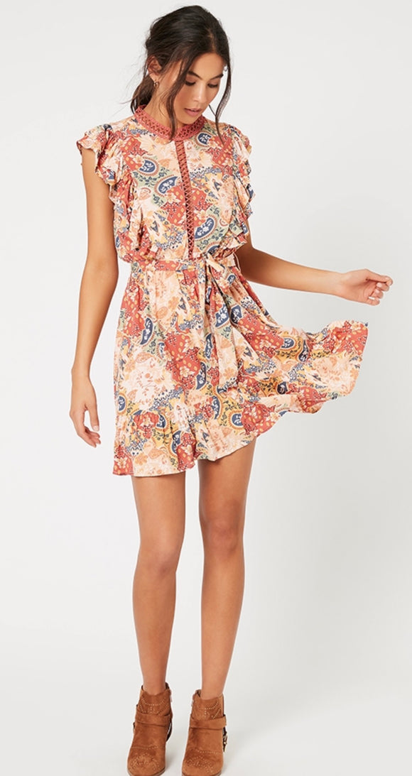 MINKPINK// Patchwork Paisley Mini Dress