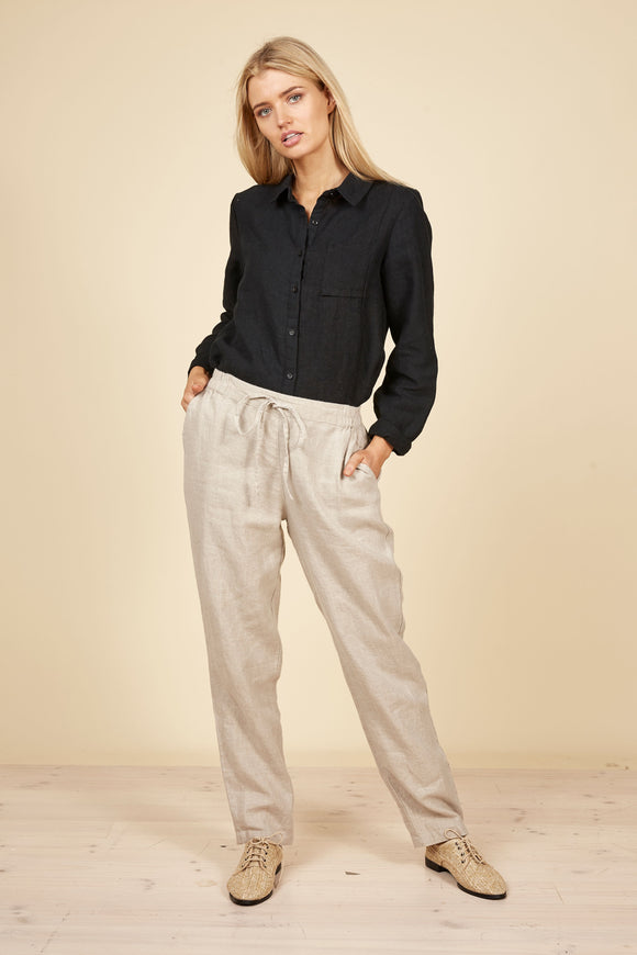 THE SHANTY CORP Nautical Linen Pants - Natural