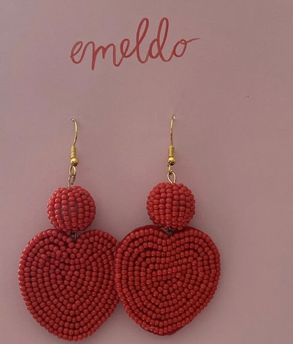 EMELDO// Beaded Heart Earrings Red