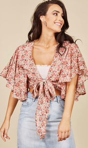 TALISMAN // Peony Wrap Top Poppy Fields