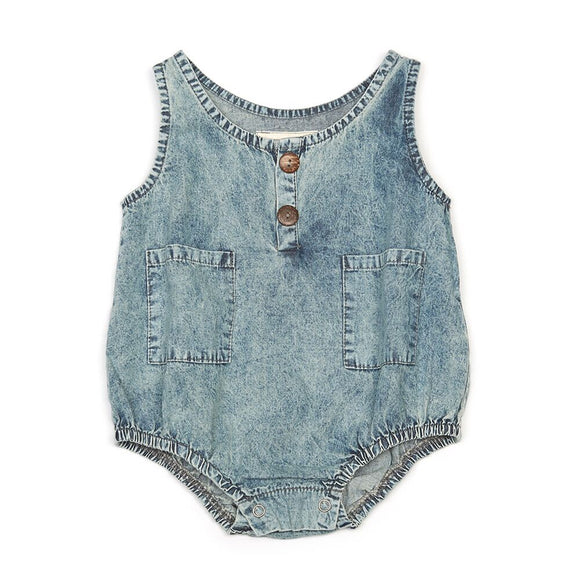 CHILDREN OF THE TRIBE Button Up Chambray Romper