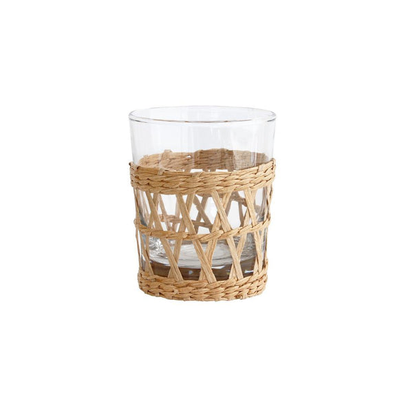 HK LIVING Wicker Drinking Glass