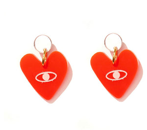 EMELDO Evil Love Earrings // neon red with rose