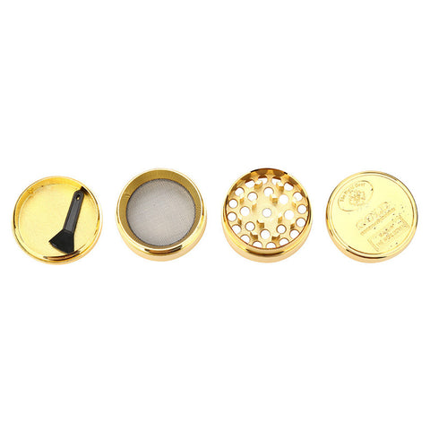 Gold Herb Grinder - Multi Chamber With Pollen Collector