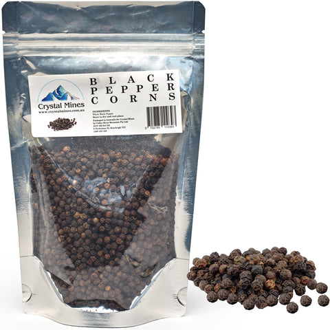 Natural Black Whole Peppercorns for Grinder 120 g 2X Refills