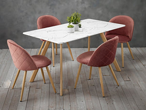 Set of 2 Velvet Curved Dining Chairs Pink