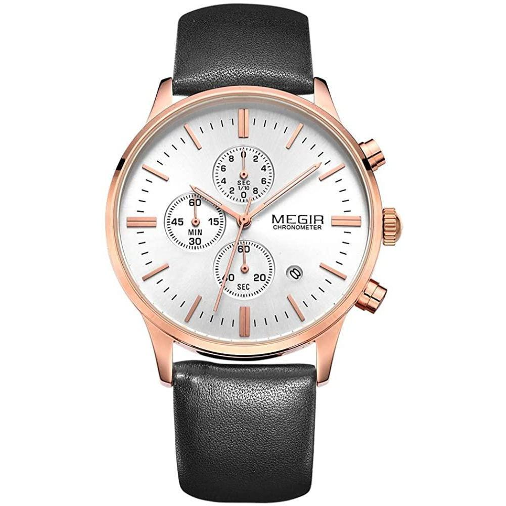 Classic Chrono Watch White Rose Gold