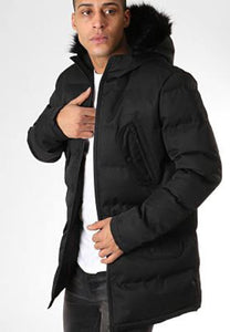 Padded Fur Hood Parka Black