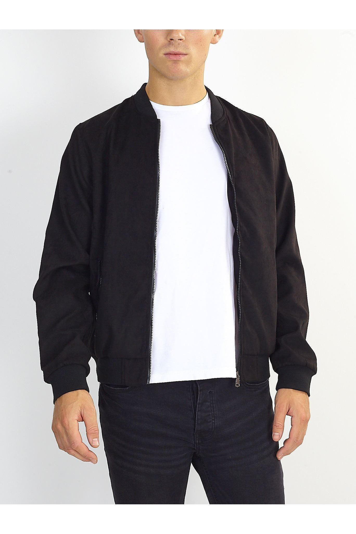 Suede Bomber Jacket Black