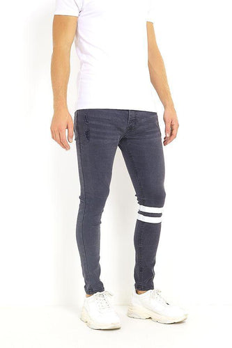 Skinny Washed Jeans Band Black